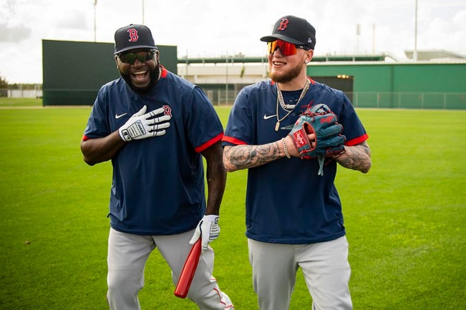 FT. MYERS, FL - FEBRUARY 20: Former designated hitter David Ortiz of the Boston Red Sox reacts with Alex Verdugo #99 of the Boston Red Sox during a team workout on February 20, 2020 at jetBlue Park at Fenway South in Fort Myers, Florida. (Photo by Billie Weiss/Boston Red Sox/Getty Images) *** Local Caption *** David Ortiz; Alex Verdugo