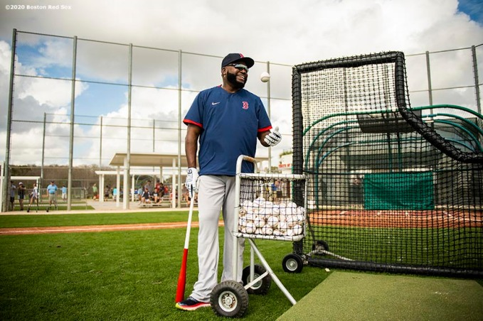 FT. MYERS, FL - FEBRUARY 20: Former designated hitter David Ortiz of the Boston Red Sox reacts during a team workout on February 20, 2020 at jetBlue Park at Fenway South in Fort Myers, Florida. (Photo by Billie Weiss/Boston Red Sox/Getty Images) *** Local Caption *** David Ortiz