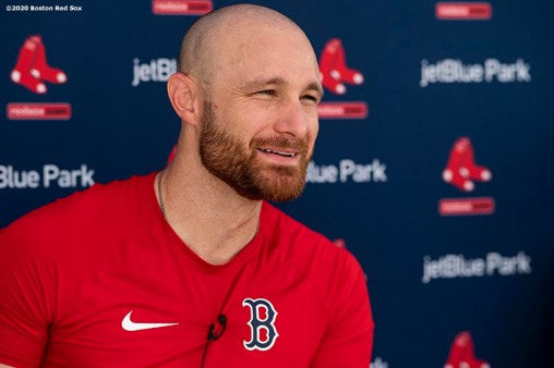 FT. MYERS, FL - FEBRUARY 20: Jonathan Lucroy #12 of the Boston Red Sox speaks to the media during a press conference during a team workout on February 20, 2020 at jetBlue Park at Fenway South in Fort Myers, Florida. (Photo by Billie Weiss/Boston Red Sox/Getty Images) *** Local Caption *** Jonathan Lucroy