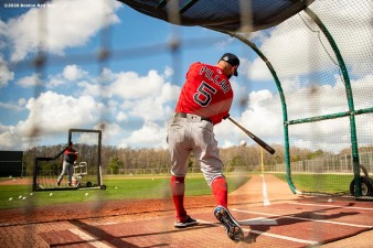 FT. MYERS, FL - FEBRUARY 20: Kevin Pillar #5 of the Boston Red Sox looks on during a team workout on February 20, 2020 at jetBlue Park at Fenway South in Fort Myers, Florida. (Photo by Billie Weiss/Boston Red Sox/Getty Images) *** Local Caption *** Kevin Pillar