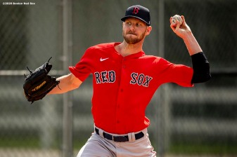 FT. MYERS, FL - FEBRUARY 20: Chris Sale #41 of the Boston Red Sox pitches during a team workout on February 20, 2020 at jetBlue Park at Fenway South in Fort Myers, Florida. (Photo by Billie Weiss/Boston Red Sox/Getty Images) *** Local Caption *** Chris Sale
