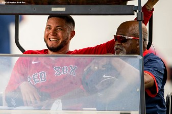 FT. MYERS, FL - FEBRUARY 20: Hector Velazquez #76 of the Boston Red Sox reacts with former pitcher Luis Tiant during a team workout on February 20, 2020 at jetBlue Park at Fenway South in Fort Myers, Florida. (Photo by Billie Weiss/Boston Red Sox/Getty Images) *** Local Caption *** Luis Tiant; Hector Velazquez