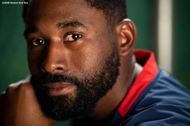 FT. MYERS, FL - FEBRUARY 25: Jackie Bradley Jr. #19 of the Boston Red Sox poses for a portrait before a Grapefruit League game against the Baltimore Orioles on February 25, 2020 at jetBlue Park at Fenway South in Fort Myers, Florida. (Photo by Billie Weiss/Boston Red Sox/Getty Images) *** Local Caption *** Jackie Bradley Jr.