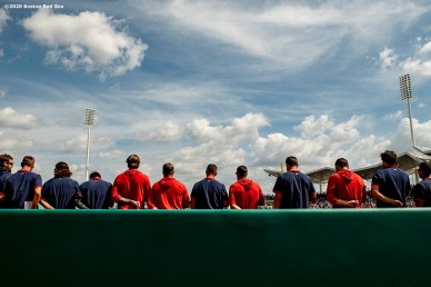 FT. MYERS, FL - FEBRUARY 25: Members of the Boston Red Sox line up before a Grapefruit League game against the Baltimore Orioles on February 25, 2020 at jetBlue Park at Fenway South in Fort Myers, Florida. (Photo by Billie Weiss/Boston Red Sox/Getty Images) *** Local Caption ***