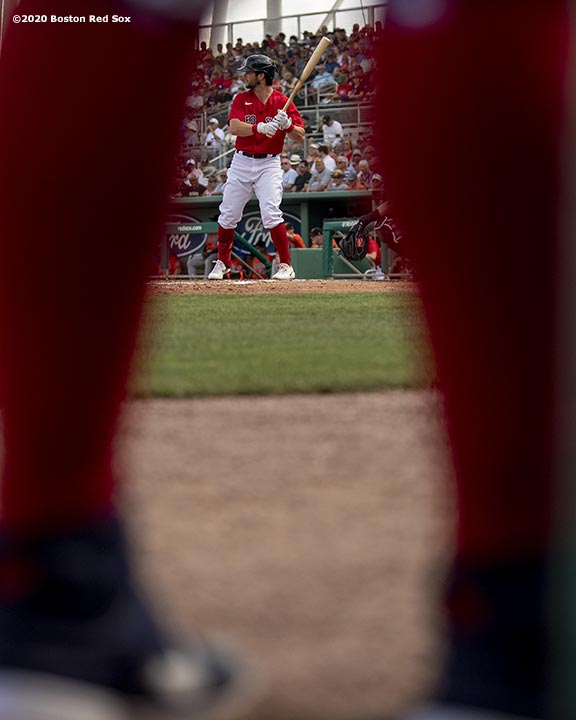 FT. MYERS, FL - FEBRUARY 25: Andrew Benintendi #16 of the Boston Red Sox bats during the first inning of a Grapefruit League game against the Baltimore Orioles on February 25, 2020 at jetBlue Park at Fenway South in Fort Myers, Florida. (Photo by Billie Weiss/Boston Red Sox/Getty Images) *** Local Caption *** Andrew Benintendi