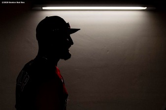 FT. MYERS, FL - FEBRUARY 27: Kevin Pillar #5 of the Boston Red Sox walks through the tunnel before a Grapefruit League game against the Philadelphia Phillies on February 27, 2020 at jetBlue Park at Fenway South in Fort Myers, Florida. (Photo by Billie Weiss/Boston Red Sox/Getty Images) *** Local Caption *** Kevin Pillar