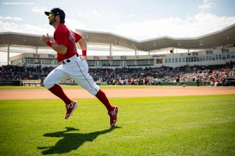 FT. MYERS, FL - FEBRUARY 27: Andrew Benintendi #16 of the Boston Red Sox warms up before a Grapefruit League game against the Philadelphia Phillies on February 27, 2020 at jetBlue Park at Fenway South in Fort Myers, Florida. (Photo by Billie Weiss/Boston Red Sox/Getty Images) *** Local Caption *** Andrew Benintendi