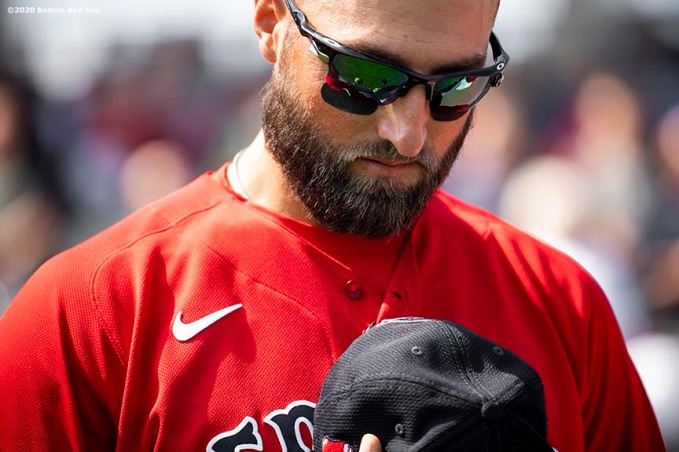 FT. MYERS, FL - FEBRUARY 27: Kevin Pillar #5 of the Boston Red Sox looks on before a Grapefruit League game against the Philadelphia Phillies on February 27, 2020 at jetBlue Park at Fenway South in Fort Myers, Florida. (Photo by Billie Weiss/Boston Red Sox/Getty Images) *** Local Caption *** Kevin Pillar