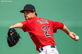 FT. MYERS, FL - FEBRUARY 27: Chris Mazza #22 of the Boston Red Sox delivers during the third inning of a Grapefruit League game against the Philadelphia Phillies on February 27, 2020 at jetBlue Park at Fenway South in Fort Myers, Florida. (Photo by Billie Weiss/Boston Red Sox/Getty Images) *** Local Caption *** Chris Mazza