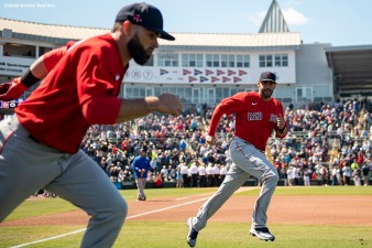 FT. MYERS, FL - FEBRUARY 28: J.D. Martinez #28 of the Boston Red Sox warms up before a Grapefruit League game against the Minnesota Twins at CenturyLink Sports Complex on February 28, 2020 in Fort Myers, Florida. (Photo by Billie Weiss/Boston Red Sox/Getty Images) *** Local Caption *** J.D. Martinez
