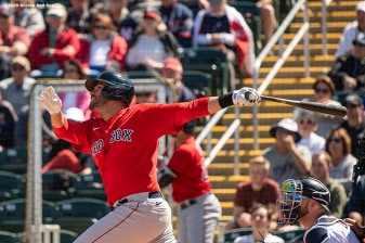 FT. MYERS, FL - FEBRUARY 28: J.D. Martinez #28 of the Boston Red Sox hits a triple during the first inning of a Grapefruit League game against the Minnesota Twins at CenturyLink Sports Complex on February 28, 2020 in Fort Myers, Florida. (Photo by Billie Weiss/Boston Red Sox/Getty Images) *** Local Caption *** J.D. Martinez