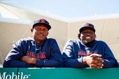 FT. MYERS, FL - FEBRUARY 29: Phillips Valdez #95 and Domingo Tapia #75 of the Boston Red Sox react before a Grapefruit League game against the New York Yankees on February 29, 2020 at jetBlue Park at Fenway South in Fort Myers, Florida. (Photo by Billie Weiss/Boston Red Sox/Getty Images) *** Local Caption *** Phillips Valdez; Domingo Tapia