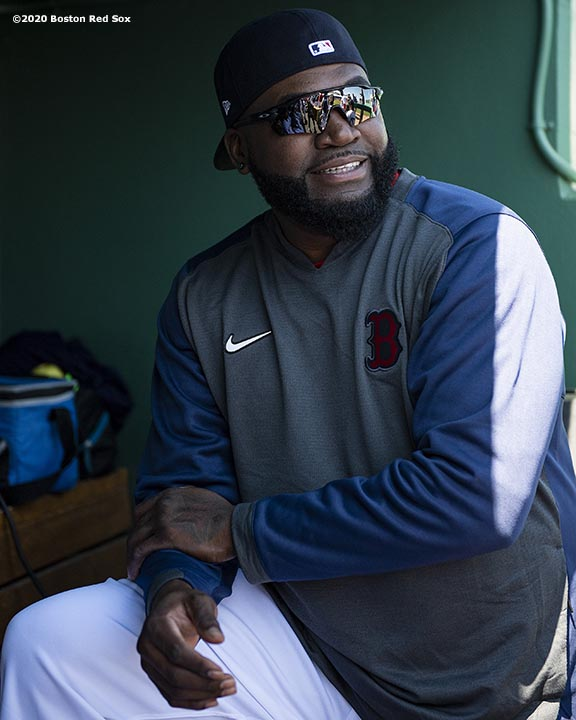 FT. MYERS, FL - FEBRUARY 29: Former designated hitter David Ortiz of the Boston Red Sox looks on before a Grapefruit League game against the New York Yankees on February 29, 2020 at jetBlue Park at Fenway South in Fort Myers, Florida. (Photo by Billie Weiss/Boston Red Sox/Getty Images) *** Local Caption *** David Ortiz
