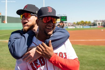 FT. MYERS, FL - FEBRUARY 29: Alex Verdugo #99 reacts with Roldani Baldwin #91 of the Boston Red Sox before a Grapefruit League game against the New York Yankees on February 29, 2020 at jetBlue Park at Fenway South in Fort Myers, Florida. (Photo by Billie Weiss/Boston Red Sox/Getty Images) *** Local Caption *** Alex Verdugo; Roldani Baldwin