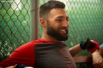 FT. MYERS, FL - MARCH 5: Kevin Pillar #5 of the Boston Red Sox reacts before a Grapefruit League game against the Houston Astros on March 5, 2020 at jetBlue Park at Fenway South in Fort Myers, Florida. (Photo by Billie Weiss/Boston Red Sox/Getty Images) *** Local Caption *** Kevin Pillar