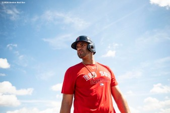 FT. MYERS, FL - MARCH 5: J.D. Martinez #28 of the Boston Red Sox reacts before a Grapefruit League game against the Houston Astros on March 5, 2020 at jetBlue Park at Fenway South in Fort Myers, Florida. (Photo by Billie Weiss/Boston Red Sox/Getty Images) *** Local Caption *** J.D. Martinez
