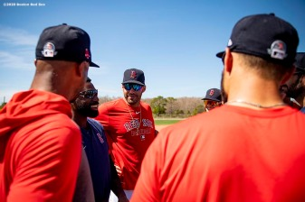 FT. MYERS, FL - MARCH 5: J.D. Martinez #28 and Jackie Bradley Jr. #19 of the Boston Red Sox talk with teammates before a Grapefruit League game against the Houston Astros on March 5, 2020 at jetBlue Park at Fenway South in Fort Myers, Florida. (Photo by Billie Weiss/Boston Red Sox/Getty Images) *** Local Caption *** Jackie Bradley Jr.; J.D. Martinez