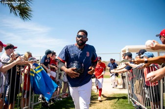 FT. MYERS, FL - MARCH 5: Jackie Bradley Jr. #19 of the Boston Red Sox runs between fields before a Grapefruit League game against the Houston Astros on March 5, 2020 at jetBlue Park at Fenway South in Fort Myers, Florida. (Photo by Billie Weiss/Boston Red Sox/Getty Images) *** Local Caption *** Jackie Bradley Jr.