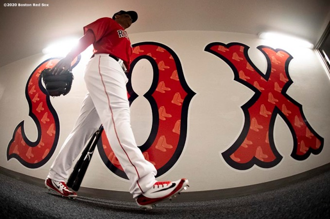 FT. MYERS, FL - MARCH 5: Rafael Devers #11 of the Boston Red Sox walks through the tunnel before a Grapefruit League game against the Houston Astros on March 5, 2020 at jetBlue Park at Fenway South in Fort Myers, Florida. (Photo by Billie Weiss/Boston Red Sox/Getty Images) *** Local Caption *** Rafael Devers