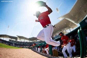 FT. MYERS, FL - MARCH 5: Jackie Bradley Jr. #19 of the Boston Red Sox jumps as he exits the dugout before a Grapefruit League game against the Houston Astros on March 5, 2020 at jetBlue Park at Fenway South in Fort Myers, Florida. (Photo by Billie Weiss/Boston Red Sox/Getty Images) *** Local Caption *** Jackie Bradley Jr.