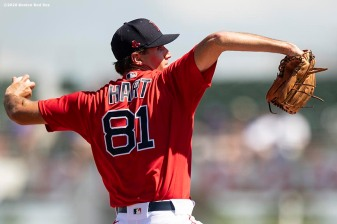 FT. MYERS, FL - MARCH 5: Kyle Hart #81 of the Boston Red Sox delivers during the first inning of a Grapefruit League game against the Houston Astros on March 5, 2020 at jetBlue Park at Fenway South in Fort Myers, Florida. (Photo by Billie Weiss/Boston Red Sox/Getty Images) *** Local Caption *** Kyle Hart