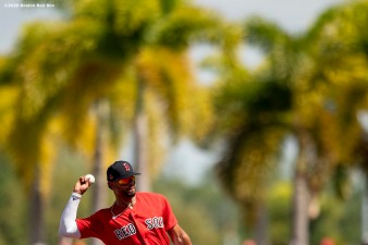 FT. MYERS, FL - MARCH 5: Xander Bogaerts #2 of the Boston Red Sox throws during the first inning of a Grapefruit League game against the Houston Astros on March 5, 2020 at jetBlue Park at Fenway South in Fort Myers, Florida. (Photo by Billie Weiss/Boston Red Sox/Getty Images) *** Local Caption *** Xander Bogaerts