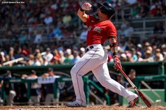 FT. MYERS, FL - MARCH 5: Michael Chavis #23 of the Boston Red Sox hits a double during the second inning of a Grapefruit League game against the Houston Astros on March 5, 2020 at jetBlue Park at Fenway South in Fort Myers, Florida. (Photo by Billie Weiss/Boston Red Sox/Getty Images) *** Local Caption *** Michael Chavis