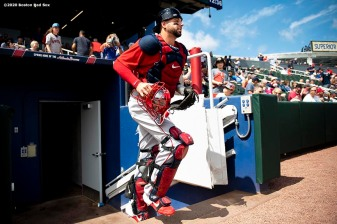 FT. MYERS, FL - MARCH 6: Kevin Plawecki #25 of the Boston Red Sox exits the dugout before a Grapefruit League game against the Atlanta Braves on March 6, 2020 at CoolToday Park in North Port, Florida. (Photo by Billie Weiss/Boston Red Sox/Getty Images) *** Local Caption *** Kevin Plawecki