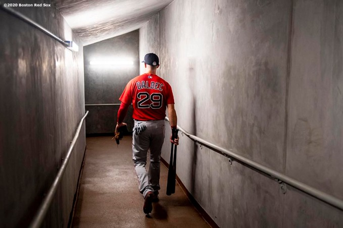 FT. MYERS, FL - MARCH 6: Bobby Dalbec #29 of the Boston Red Sox walks through the tunnel before a Grapefruit League game against the Atlanta Braves on March 6, 2020 at CoolToday Park in North Port, Florida. (Photo by Billie Weiss/Boston Red Sox/Getty Images) *** Local Caption *** Bobby Dalbec