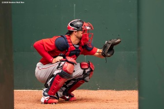 FT. MYERS, FL - MARCH 6: Kevin Plawecki #25 of the Boston Red Sox warms up in the bullpen before a Grapefruit League game against the Atlanta Braves on March 6, 2020 at CoolToday Park in North Port, Florida. (Photo by Billie Weiss/Boston Red Sox/Getty Images) *** Local Caption *** Kevin Plawecki
