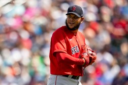 FT. MYERS, FL - MARCH 6: Eduardo Rodriguez #57 of the Boston Red Sox reacts during the first inning of a Grapefruit League game against the Atlanta Braves on March 6, 2020 at CoolToday Park in North Port, Florida. (Photo by Billie Weiss/Boston Red Sox/Getty Images) *** Local Caption *** Eduardo Rodriguez