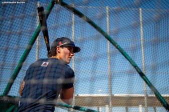 FT. MYERS, FL - MARCH 7: Jarren Duran #92 of the Boston Red Sox takes batting practice before a Grapefruit League game against the Toronto Blue Jays on March 7, 2020 at jetBlue Park at Fenway South in Fort Myers, Florida. (Photo by Billie Weiss/Boston Red Sox/Getty Images) *** Local Caption *** Jarren Duran
