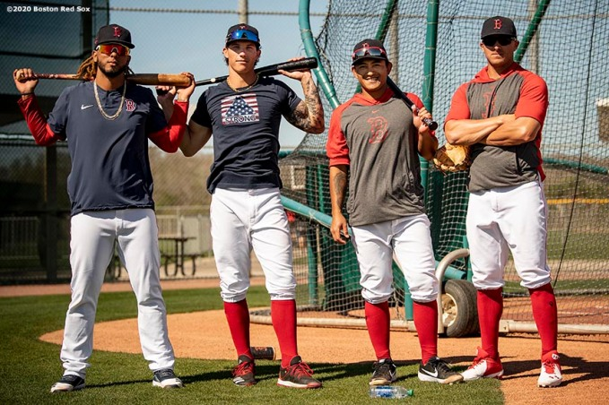 FT. MYERS, FL - MARCH 7: Jonathan Arauz #36, Jarren Duran #92, Tzu-Wei Lin #30, and John Andreoli #67 of the Boston Red Sox pose for a portrait before a Grapefruit League game against the Toronto Blue Jays on March 7, 2020 at jetBlue Park at Fenway South in Fort Myers, Florida. (Photo by Billie Weiss/Boston Red Sox/Getty Images) *** Local Caption *** Jonathan Arauz; Jarren Duran; Tzu-Wei Lin; John Andreoli