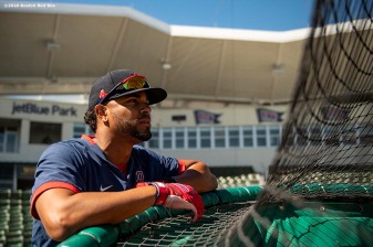 FT. MYERS, FL - MARCH 7: Xander Bogaerts #2 of the Boston Red Sox looks on before a Grapefruit League game against the Toronto Blue Jays on March 7, 2020 at jetBlue Park at Fenway South in Fort Myers, Florida. (Photo by Billie Weiss/Boston Red Sox/Getty Images) *** Local Caption *** Xander Bogaerts