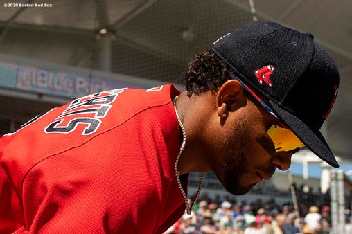 FT. MYERS, FL - MARCH 7: Xander Bogaerts #2 of the Boston Red Sox exits the dugout before a Grapefruit League game against the Toronto Blue Jays on March 7, 2020 at jetBlue Park at Fenway South in Fort Myers, Florida. (Photo by Billie Weiss/Boston Red Sox/Getty Images) *** Local Caption *** Xander Bogaerts