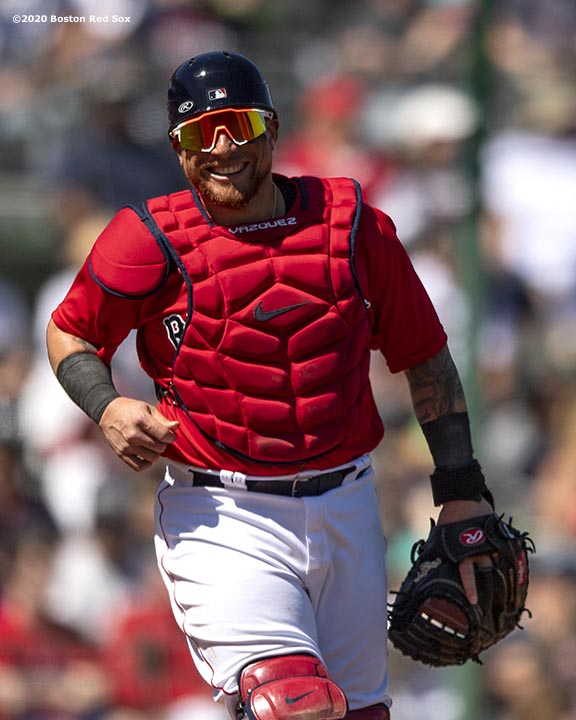 FT. MYERS, FL - MARCH 7: Christian Vazquez #7 of the Boston Red Sox reacts during the second inning of a Grapefruit League game against the Toronto Blue Jays on March 7, 2020 at jetBlue Park at Fenway South in Fort Myers, Florida. (Photo by Billie Weiss/Boston Red Sox/Getty Images) *** Local Caption *** Christian Vazquez