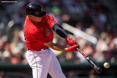 FT. MYERS, FL - MARCH 7: Bobby Dalbec #29 of the Boston Red Sox hits an RBI double during the third inning of a Grapefruit League game against the Toronto Blue Jays on March 7, 2020 at jetBlue Park at Fenway South in Fort Myers, Florida. (Photo by Billie Weiss/Boston Red Sox/Getty Images) *** Local Caption *** Bobby Dalbec