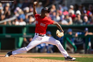 FT. MYERS, FL - MARCH 7: Phillips Valdez #95 of the Boston Red Sox delivers during the sixth inning of a Grapefruit League game against the Toronto Blue Jays on March 7, 2020 at jetBlue Park at Fenway South in Fort Myers, Florida. (Photo by Billie Weiss/Boston Red Sox/Getty Images) *** Local Caption *** Phillips Valdez