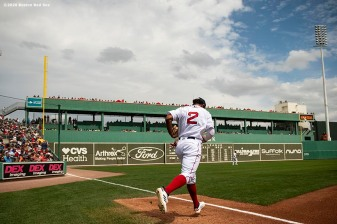 FT. MYERS, FL - MARCH 8: Xander Bogaerts #2 of the Boston Red Sox runs onto the field before a Grapefruit League game against the Minnesota Twins on March 8, 2020 at jetBlue Park at Fenway South in Fort Myers, Florida. (Photo by Billie Weiss/Boston Red Sox/Getty Images) *** Local Caption *** Xander Bogaerts