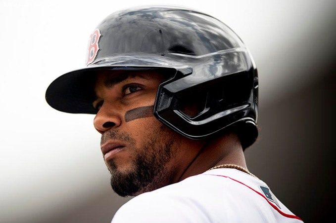 FT. MYERS, FL - MARCH 8: Xander Bogaerts #2 of the Boston Red Sox looks on during the third inning of a Grapefruit League game against the Minnesota Twins on March 8, 2020 at jetBlue Park at Fenway South in Fort Myers, Florida. (Photo by Billie Weiss/Boston Red Sox/Getty Images) *** Local Caption *** Xander Bogaerts