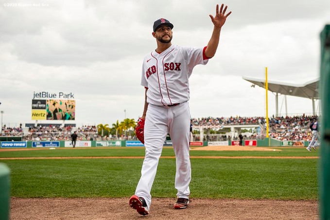 FT. MYERS, FL - MARCH 8: Martin Perez #54 of the Boston Red Sox reacts as he exits the field during the fourth inning of a Grapefruit League game against the Minnesota Twins on March 8, 2020 at jetBlue Park at Fenway South in Fort Myers, Florida. (Photo by Billie Weiss/Boston Red Sox/Getty Images) *** Local Caption *** Martin Perez