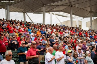 FT. MYERS, FL - MARCH 10: A crowd of fans looks on before a game between the Boston Red Sox and the St. Louis Cardinals on March 10, 2020 at jetBlue Park at Fenway South in Fort Myers, Florida. (Photo by Billie Weiss/Boston Red Sox/Getty Images) *** Local Caption ***