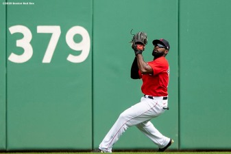FT. MYERS, FL - MARCH 10: Jackie Bradley Jr. #19 of the Boston Red Sox throws during the first inning of a Grapefruit League game against the St. Louis Cardinals on March 10, 2020 at jetBlue Park at Fenway South in Fort Myers, Florida. (Photo by Billie Weiss/Boston Red Sox/Getty Images) *** Local Caption *** Jackie Bradley Jr.