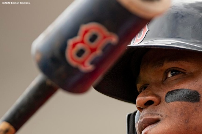 FT. MYERS, FL - MARCH 10: Rafael Devers #11 of the Boston Red Sox looks on during the first inning of a Grapefruit League game against the St. Louis Cardinals on March 10, 2020 at jetBlue Park at Fenway South in Fort Myers, Florida. (Photo by Billie Weiss/Boston Red Sox/Getty Images) *** Local Caption *** Rafael Devers