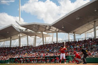 FT. MYERS, FL - MARCH 10: Andrew Benintendi #16 of the Boston Red Sox bats during the second inning of a Grapefruit League game against the St. Louis Cardinals on March 10, 2020 at jetBlue Park at Fenway South in Fort Myers, Florida. (Photo by Billie Weiss/Boston Red Sox/Getty Images) *** Local Caption *** Andrew Benintendi