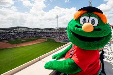 FT. MYERS, FL - MARCH 10: Boston Red Sox mascot Wally the Green Monster looks on during a Grapefruit League game between the Boston Red Sox and the St. Louis Cardinals on March 10, 2020 at jetBlue Park at Fenway South in Fort Myers, Florida. (Photo by Billie Weiss/Boston Red Sox/Getty Images) *** Local Caption *** Wally