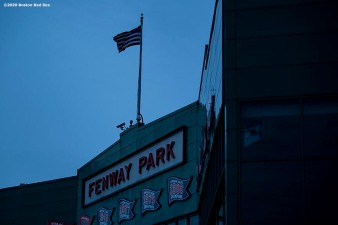 BOSTON, MA - APRIL 2: The facade is shown as the sun rises over Fenway Park on what would have been the home opening day for the Boston Red Sox against the Chicago White Sox at Fenway Park on April 2, 2020 at Fenway Park in Boston, Massachusetts. The game was postponed due to the coronavirus pandemic. (Photo by Billie Weiss/Boston Red Sox/Getty Images) *** Local Caption ***