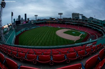 BOSTON, MA - APRIL 2: The sun rises over Fenway Park on what would have been the home opening day for the Boston Red Sox against the Chicago White Sox at Fenway Park on April 2, 2020 at Fenway Park in Boston, Massachusetts. The game was postponed due to the coronavirus pandemic. (Photo by Billie Weiss/Boston Red Sox/Getty Images) *** Local Caption ***