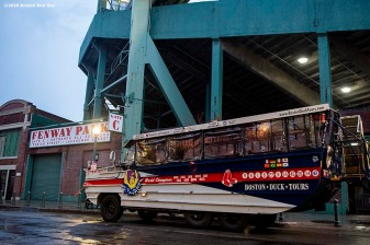 BOSTON, MA - APRIL 9: A Boston Duck tours Duck Boat transports medical professionals from Beth Israel Deaconess Medical Center as they are welcomed onto the empty field at Fenway Park in recognition of their work during the coronavirus pandemic on April 9, 2020 at Fenway Park in Boston, Massachusetts. The welcoming was filmed for the 'Some Good News With John Krasinski' YouTube series. (Photo by Billie Weiss/Boston Red Sox/Getty Images) *** Local Caption ***