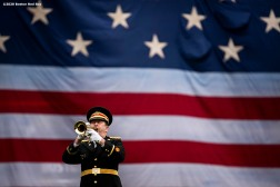 BOSTON, MA - MAY 25: Retired member of the U.S. Marine Corps and National Guard Robert Bean plays Taps as the American flag is dropped over the Green Monster on Memorial Day as the Major League Baseball season is postponed due to the coronavirus pandemic on May 25, 2020 at Fenway Park in Boston, Massachusetts. (Photo by Billie Weiss/Boston Red Sox/Getty Images) *** Local Caption *** Robert Bean